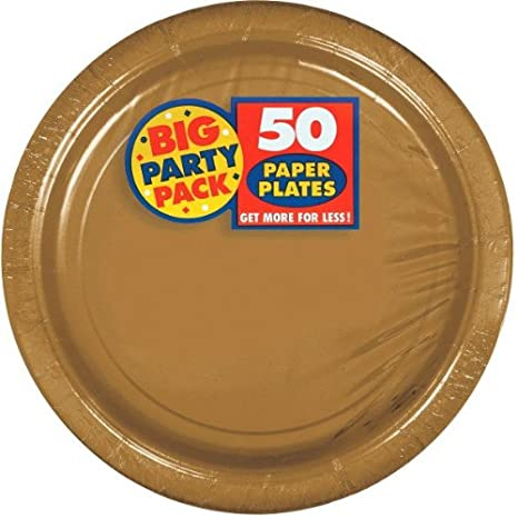Amscan Big Party Pack Paper Dinner Plates 9-Inch, 50/Pkg, Apple Red 650013-40
