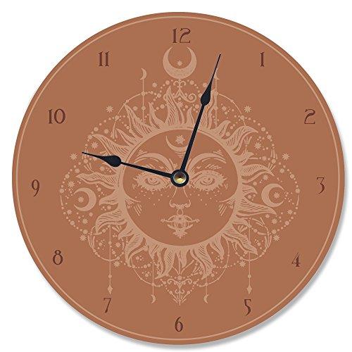 Terra Cotta Wall Clock - The Stupell Home Decor Collection Stupell Industries Tarot Terra Cotta Sun Vanity Clock, Proudly Made in USA