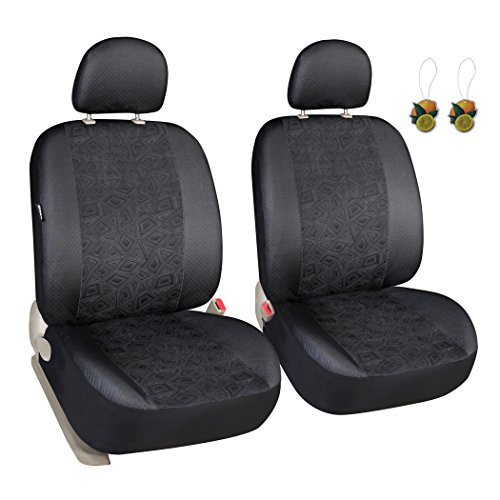 Leader Accessories Universal Breathable Car Low Back Cloth Seat Covers 2 Front Seat Protector (Cloth Front Bucket Seat)
