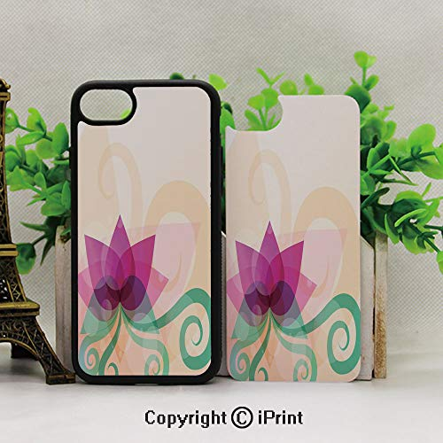 Full Body Protector Shockproof Cover,Applicable to The 7Plus/8Plus of The iPhone,Fantasy Lotus with Swirl Leaves Blooming Lily Flower Asian Nature DecorativePeach Fuchsia Almond Green