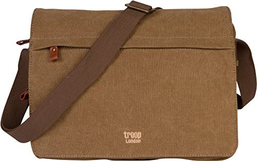 Troop London Canvas Messenger Bag For Tablets Leather Trims Size Small TRP0241 2 – Brown