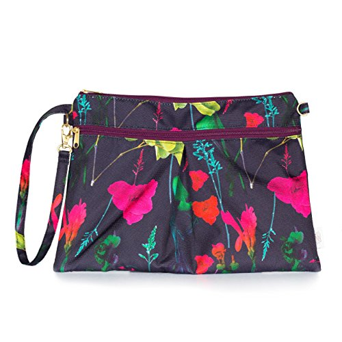 Botanica Bag - Waterproof Wristlet Clutch - Diaper Clutch with Front Dry Pocket, Cloth Diaper Wet Bag, Small Diaper Bag, Wet Wipes Case Or Carrier - Made in USA (Botanica)