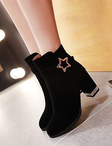 XZZ   Damen-Stiefel-Kleid-Kunstleder-Blockabsatz-Rundeschuh   Modische Stiefel-Schwarz    Rot bbbb3c