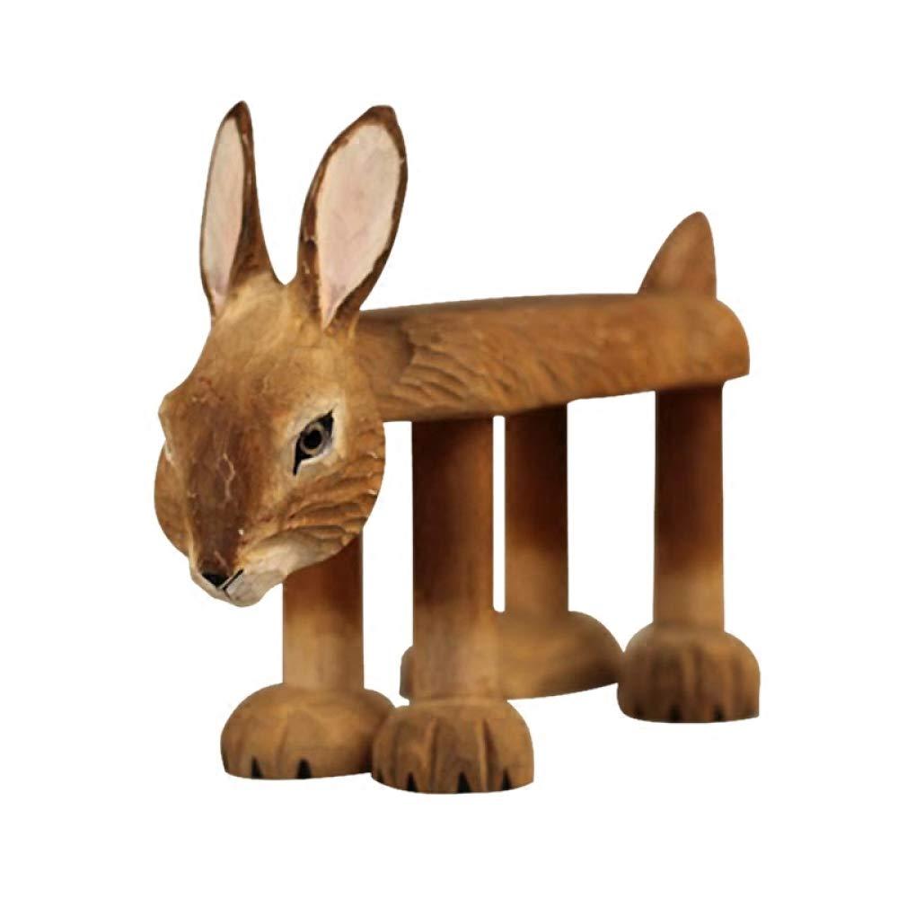 JJZHY 兔子实木可爱兔子换鞋凳婴儿礼品木制动物凳子成人和孩子,Conejito,Un tamaño