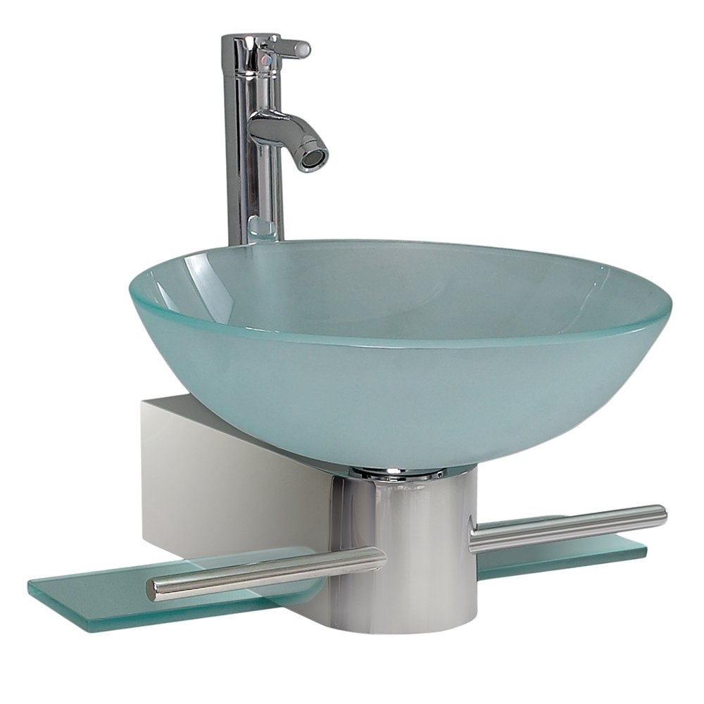 Fresca Bath FVN Cristallino Glass Vanity With Frosted Sink - Modern and contemporary bathroom vanities