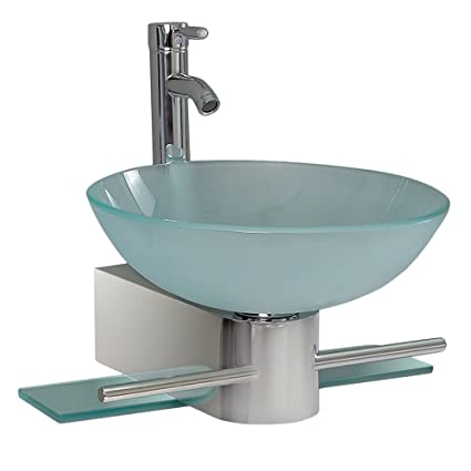 Fresca Bath FVN Cristallino Glass Vanity With Frosted Sink - Fresca cristallino glass bathroom vanity
