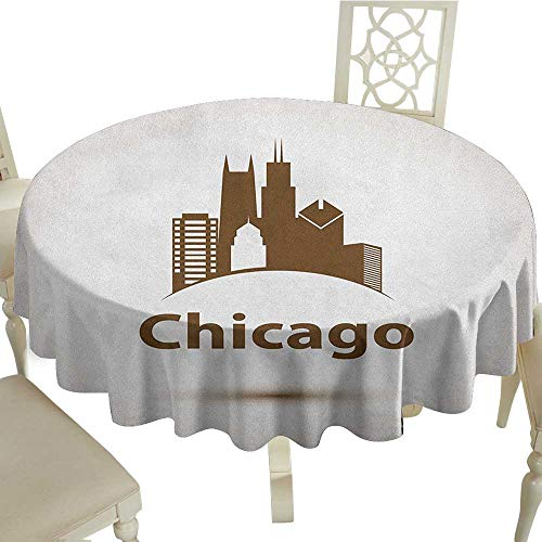 Cranekey Round Tablecloth 50 Inch Chicago Skyline,USA City Old Fashioned Urban in Earth Toned Retro Poster Design Eggshell Chocolate Suitable for Traveling,Outdoors,Family,Restaurant,Coffee Shop More