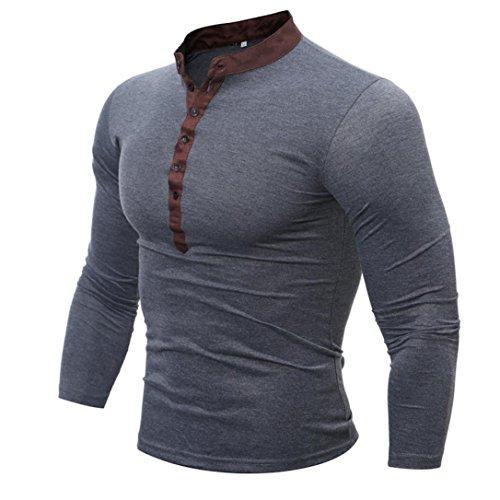 IEason Men Top, Men Spring Autumn Cotton T Shirt Men Solid Color Tshirt Long Sleeve Top (Dark Gray, L)