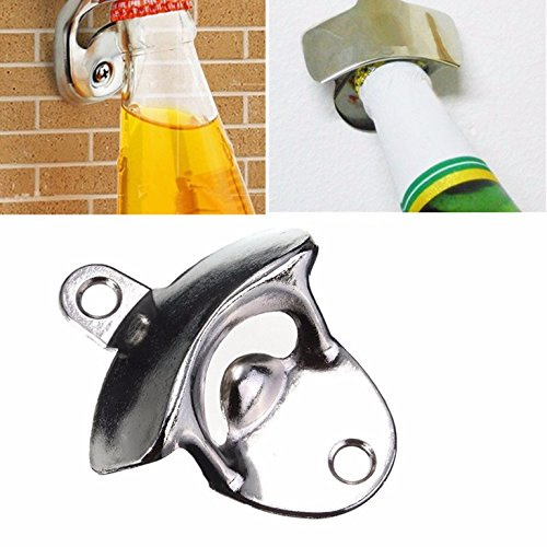1 Pc Stainless Steel Wall-Mounted Glass Cap Cooking Kitchen Bar Bottle Opener Keychain Key Rings Chains Wrist Holder Strap Prime Popular Beer Openers Corkscrew Catcher Knife Vintage Utility Pocket