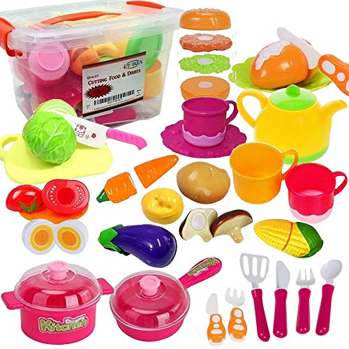 (FUNERICA Set of Pretend Food and Dishes Playset for Kids - Includes Play Food - Play Dishes - Cutting Play Vegetables - Mini Pots and Pans - Kettle - Knife and More)