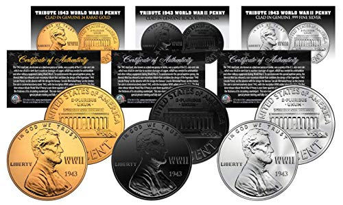 1943 TRIBUTE WWII Steel Penny Coins 3 Versions BLACK RUTHENIUM, 24K GOLD, SILVER ()