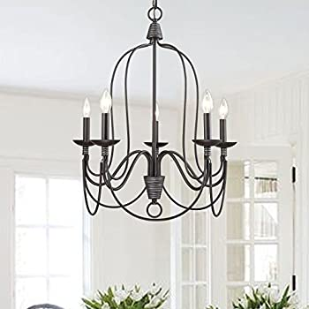 yobo lighting 5 light industrial candle chandelier oil rubbed bronze - Candle Chandelier