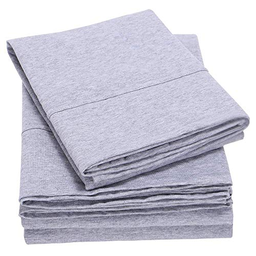 EMME Cotton Sheet Set 3-Piece Soft Hypoallergenic Yarn-Dyed Jersey Knit Skin-Friendly for All Season Bedding Collection Flat Sheet, Fitted Sheet with Pillowcase Fade Resistant (Grey, Twin-XL) ()