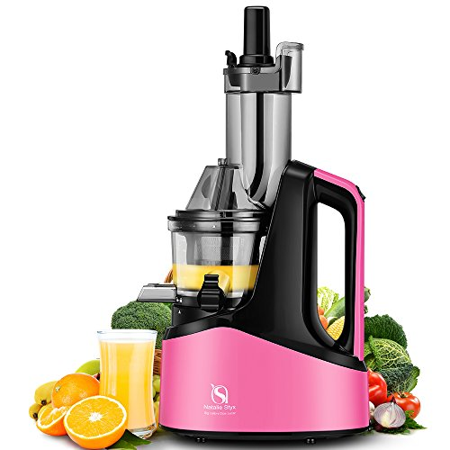 Natalie Styx Juicer Slow Masticating Juicer Extractor, 3″ Wide Chute Anti-Oxidation Cold Press Juicer , 240W AC Motor, with Juice Jug and Brush, High Nutrient Fruit and Vegetable Juice, Pink