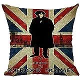 Vintage Retro Blend Cartoon Sherlock Holmes John Watson Cotton Linen Pillow Case Home Decorative Pillowcase 1Pcs