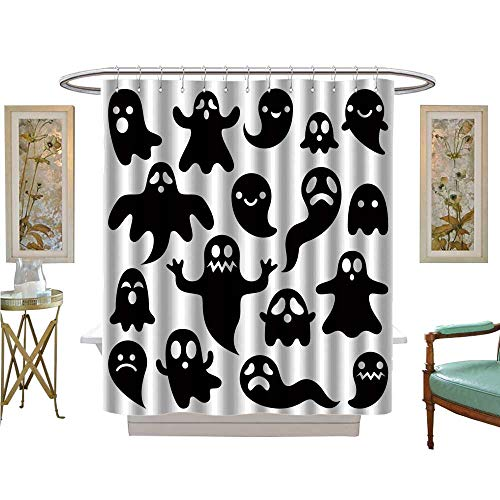 luvoluxhome Shower Curtain Collection by Scary Ghosts Design Halloween Characters Icons Set Bathroom Set with Hooks W69 x L84