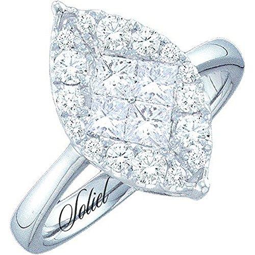 Dazzlingrock Collection 0.25 Carat (ctw) 14K Princess & Round White Diamond Soliel Bridal Engagement Ring 1/4 CT, White Gold
