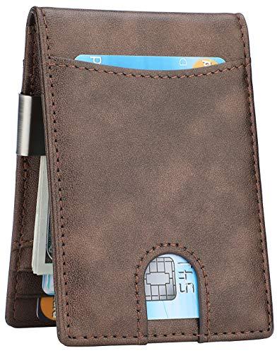 Money Clip Wallet - Mens Slim Front Pocket Leather Wallet RFID Blocking Minimalist Mini Wallet (Style 2 - Galaxy) -