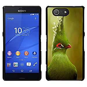EJOY---Cubierta de la caja de protección para la piel dura ** Sony Xperia Z3 Compact ** --verde pájaro tropical verde de la naturaleza borrosa