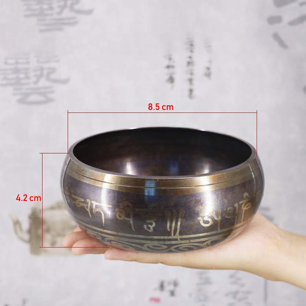 Bol Chantant Tib/étain,Bol Tib/étain Artisanal Bleu Ensemble de Bols de Chantant Tib/étain au N/épal avec Coussin et Maillet pour la M/éditation 8.5cm