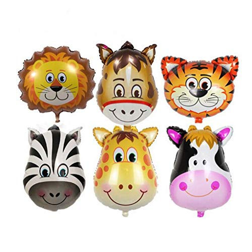 (Naiflowers Jungle Safari Animals Balloons - 6pcs Giant Zoo Animal Balloons Kit for Jungle Safari Animals Theme Birthday Party Decorations (Multicolor) )