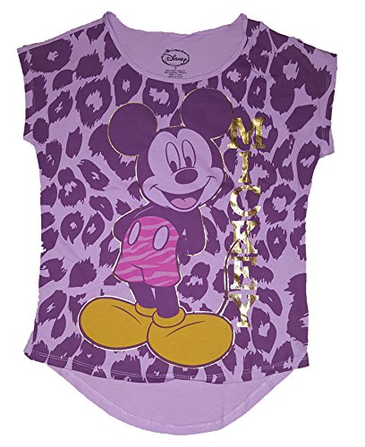 Price comparison product image Disney Mickey Mouse 'Mickey standing Animal Print' Junior Girls Crop Top T Shirt (Small)