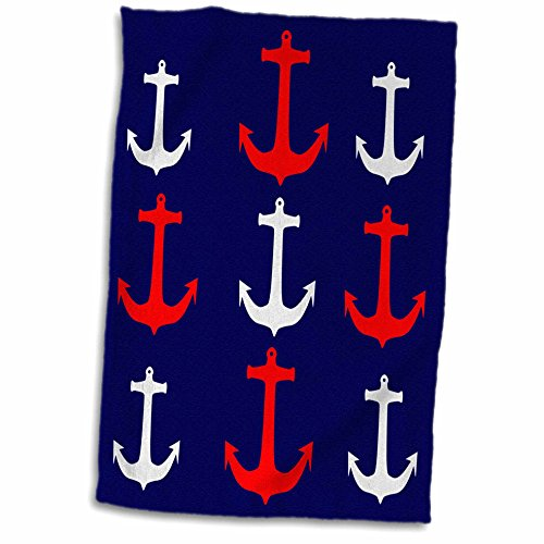 3dRose-Florene-Nautical-Dcor-Image-of-Red-And-White-Anchors-In-Rows-On-Navy-Blue-Towel