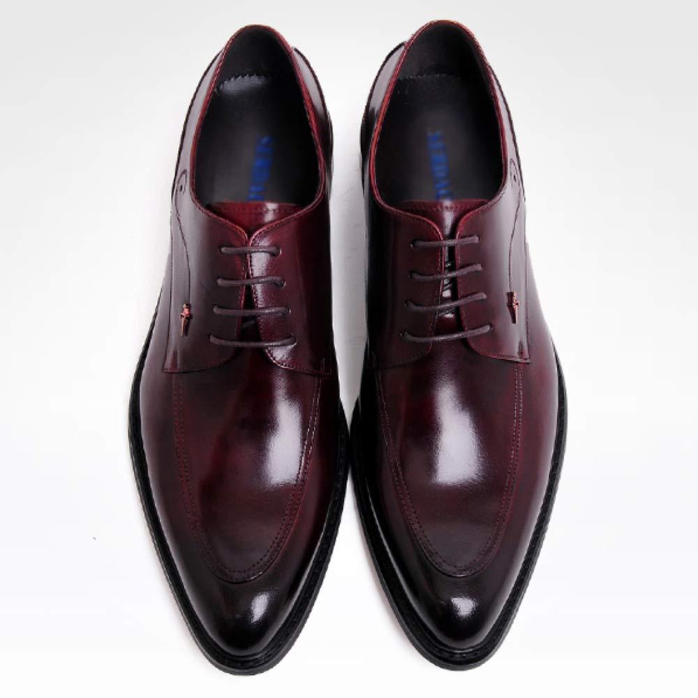 LinShuiXian Herren Rot Business Formelle Arbeit Schwarz Rot Herren Echtes Leder Schnürschuh Büro Abendgesellschaft Im Freien Uniform Derby Schuhe Für Männer ROT 40ad21