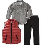 Calvin Klein Boys' 3 Pc Vest Set, Red/Black, 3T