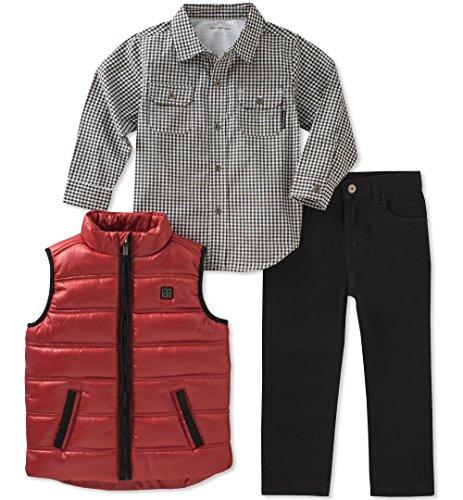 Calvin Klein Boys' 3 Pc Vest Set, Red/Black, 3T by Calvin Klein