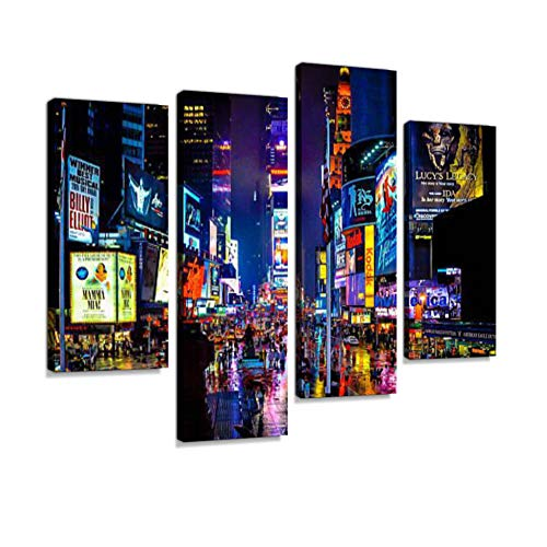 Times Square Canvas Wall Art Hanging Paintings Modern Artwork Abstract Picture Prints Home Decoration Gift Unique Designed Framed 4 Panel