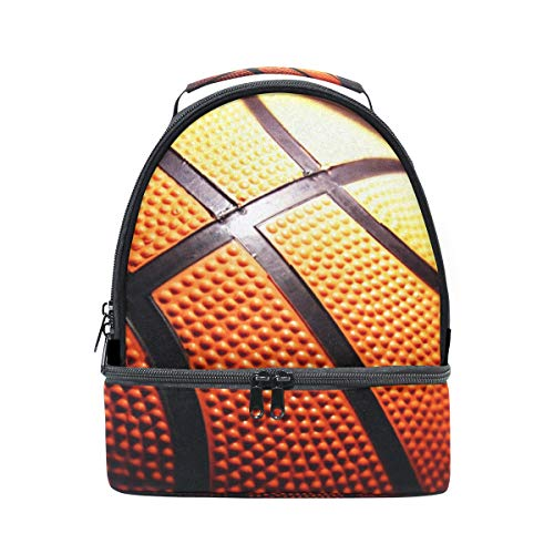 épaule double Sac à déjeuner basket-ball Fond Noir Cooler Sangle réglable pour pique-nique