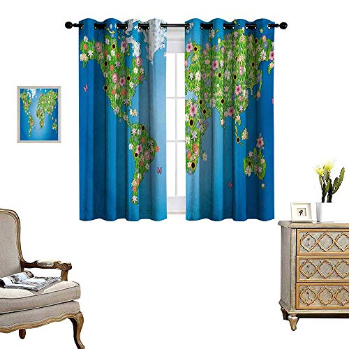 Floral World Map Window Curtain Fabric Daisy Lily Daffodil Poppy Botany Bouquet World Map with Grass Concept Drapes for Living Room W72 x L45 Lime Green Blue - Fabric Flannel Daisy