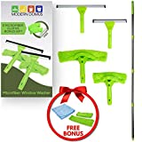 Modern Domus Neverending Reach Squeegee Window Cleaner Kit! Shower Squeegee, High Window Cleaning Tools, Car Windshield Tool Doors - Indoor/Outdoor Washing Equipment Extension Pole 4 Washer Heads