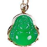 yigedan 14k Gold Plated Green Jade Gemstone Buddha Pendant Lucky Necklace