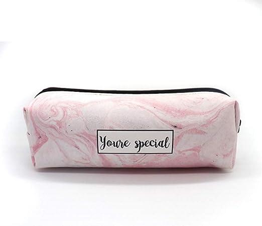 TMY Caja de lápices de mármol Estuches Escolares for niñas Kawaii de Cuero Bolso Grande de la Pluma PencilCase Bolsa Papelería Escolar (Color : Pink): Amazon.es: Hogar
