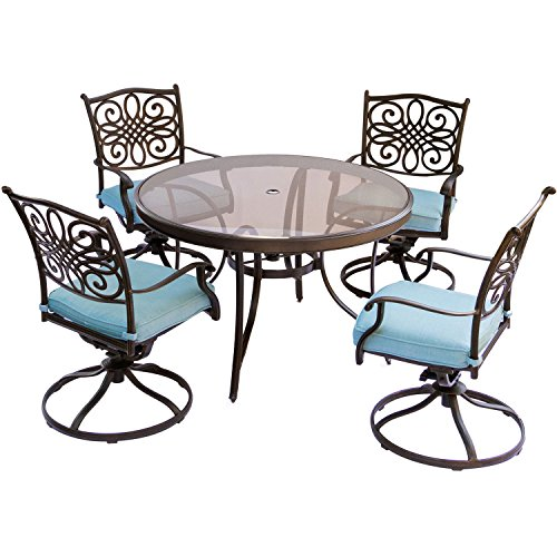 Traditions 5pc Round Metal Patio Dining Set - Blue - Hanover