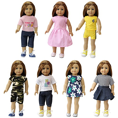 18 Pattern Doll Clothing - ZITA ELEMENT 7 Sets American 18 Inch Girl Doll Clothes and Dress | 14-18 Inch Baby Doll Outfits | Best Premium & Reward Gift for Girls