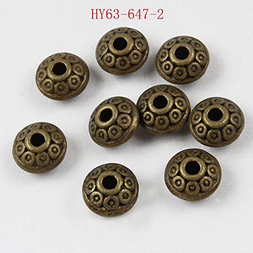 Alloy Beads - HYBEADS 50per 6MM Spacer Disk Beads Antique Silver Alloy Beads (Bronze 50pcs)