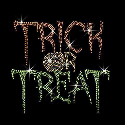 Rhinestone and Rhinestud Trick Or Treat Iron on Transfer Hot Fix DIY 7.8