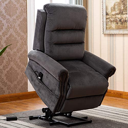 ANJ Electric Power Lift Recliner Chair for Elderly with Nailhead Trim, Dark Brown