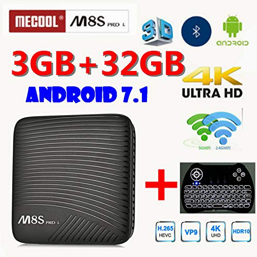 3GB RAM 32GB ROM MECOOL M8S Pro L Voice Control Function TV Box 4K TV Box  Android 7 1 Amlogic S912 4K with Backlit Keyboard