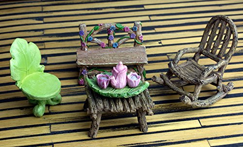 The Super Cute Miniature (Eight Piece) Fairy Garden Furniture & Tiny Tea Set