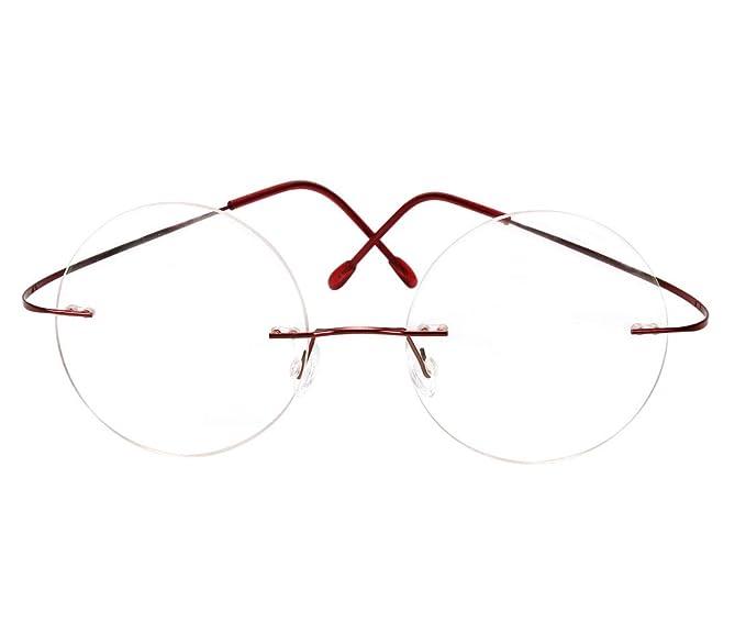 3825f392bd Memory Titanium Optical Rimless Mens Womens Round Eyeglasses Frame (Red)