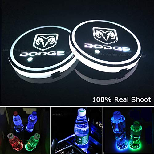 AutoDIY Led Car Logo Cup Lights up Holder USB Charging Waterproof Bottle Drinks pad 7 Colors Changing Atmosphere Lamp mat Cars for Luminous Coasters 2PCS (for Dodg.e)