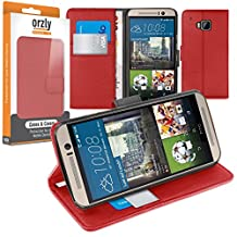 Orzly® - Multi-Function Wallet Stand Case for HTC ONE (M9) - RED Wallet Style Phone Case with Integrated Stand - Designed by ORZLY® specifically for use with the HTC ONE M9 SmartPhone / Phablet (Original 2015 Model / Full Size Version)