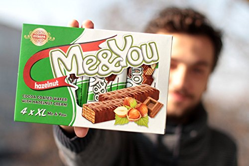 Chocolate Covered Wafer - 4 x bars, Me & You ,Chocolate coated Wafer with (hazelnut Cream)