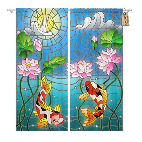 Golee Window Curtain Stained Glass Koi Fish and Lotus Flowers Home Decor Rod Pocket Drapes 2 Panels Curtain 104 x 63 inches