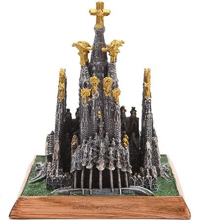DULU Catedral de la Sagrada Familia Estatua Resina Artesanía Escultura España Modelos en Miniatura de Edificios Antiguos Recuerdos Coleccionables Decoraciones para el hogar,Gold: Amazon.es: Hogar