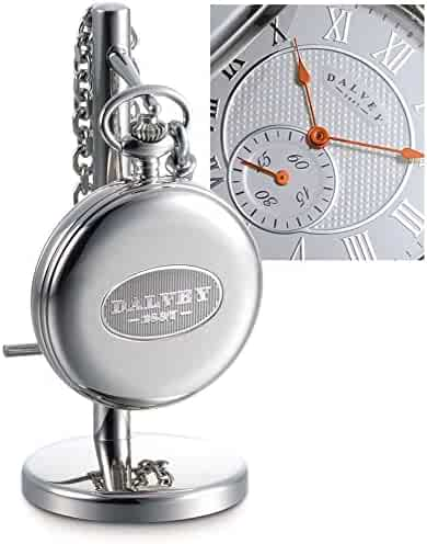 Dalvey Full Hunter Pocket Watch White/Orange & Stand Set